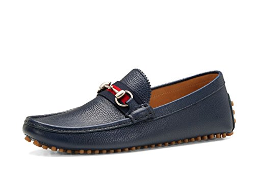 Gucci Men's 'Damo' Leather Horsebit Driver, Navy (10 US/9.5 UK)