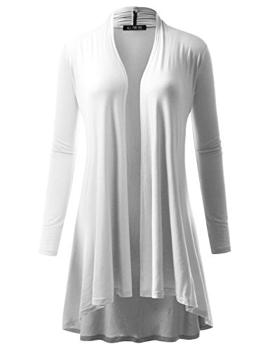 A.F.Y All For You Women's Extra Long Cardigan White X-Large
