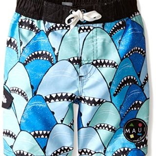 Maui & Sons Little Boys' Toddler Swim Trunk with Blue Shark Print, Multi, 2T