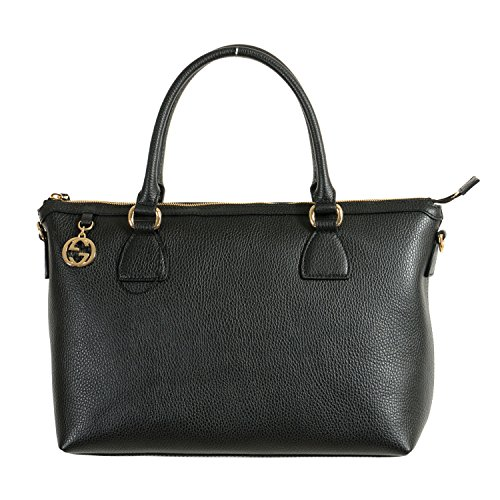 Gucci Women's Pebbled Leather Black Satchel Handbag Bag