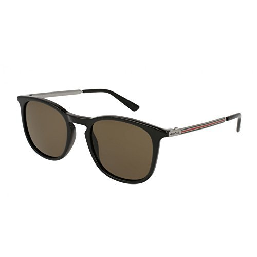 Gucci Black Plastic Square Sunglasses Brown Lens