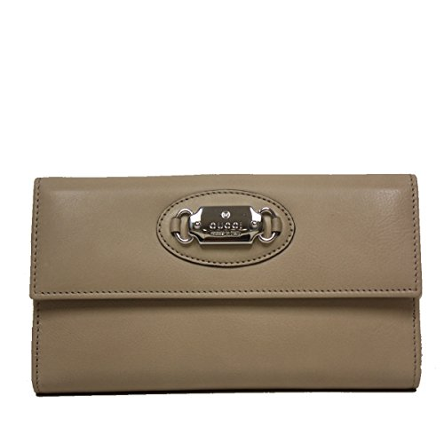 Gucci Leather Plaque Continental Flap Wallet, Beige Tan