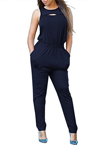 Fixmatti Women Plain Sleeveless Waisted Long Pant Jumpsuits Navy Blue XL