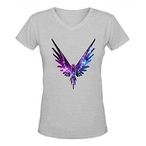 Doppelwalker Maverick Logo T Shirt,Logan Paul Logang YouTube womens V Neck T-Shirts Grey L