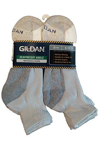 Gildan 8 Pair Heavyweight Ankle Socks Men's 6-12, White,