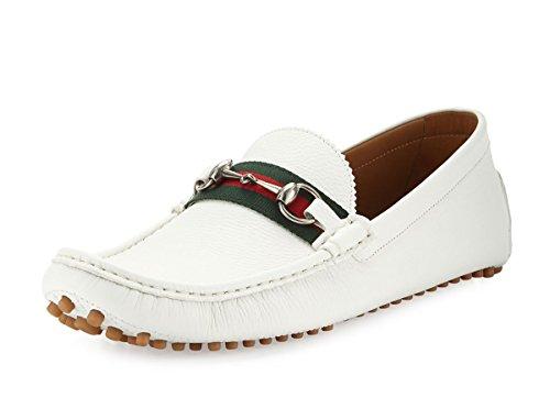 Gucci Men's 'Damo' Leather Horsebit Driver, White (11.5 US/11 UK)