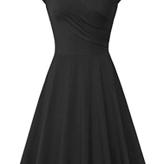 AUSELILY Women's Cotton Cap Sleeve V Neck Casual A Line Elegant Bodycon Dress (L, Black)