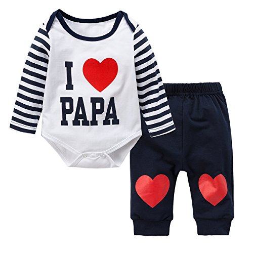 Baywell Newborn Baby Boys Girls Clothes Set, Adorable Romper Set 2Pcs Outfit Sweet Heart Print