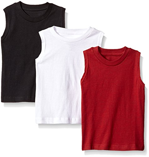 American Hawk Big Boys 3 Piece Pack Muscle T-Shirt, Marled Dark Red/White/Black, 10/12