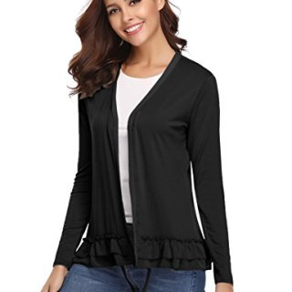 Abollria Women's Loose Casual Long Sleeved Open Front Breathable Cardigans (Black,S)