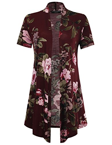 All for You Women's Soft Drape Floral Cardigan Short Sleeve Burgundy X-Large