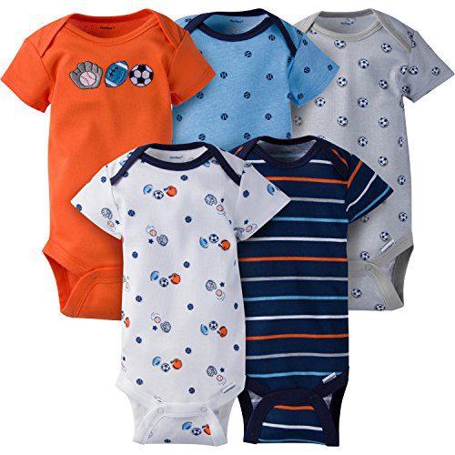 Gerber Baby Boys 5 Pack Onesies, Lil' Athlete, 3-6 Months