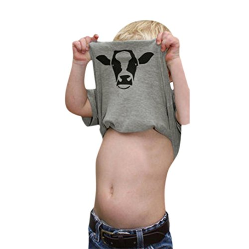®GBSELL Little Girls Boys Summer Clothes Cow Inside Letter Soft Tops Cute T-Shirt (Gray, 4T)