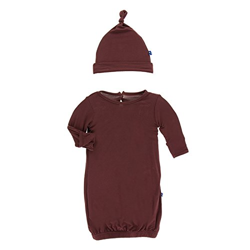 Kickee Pants Little Boys Solid Layette Gown & Knot Hat Set - Eagle, 0-3 Months