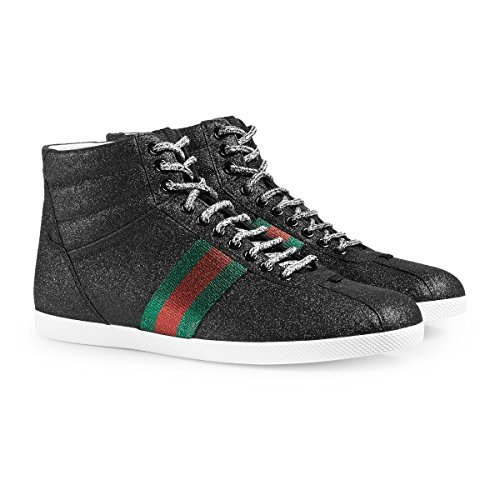 Gucci Men's Glitter Web High-top Sneaker, Black (Nero) 429598 (8.5 US/8 UK)