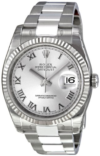 Rolex Perpetual Datejust Rhodium Dial Stainless Steel 18kt White Gold Mens Watch