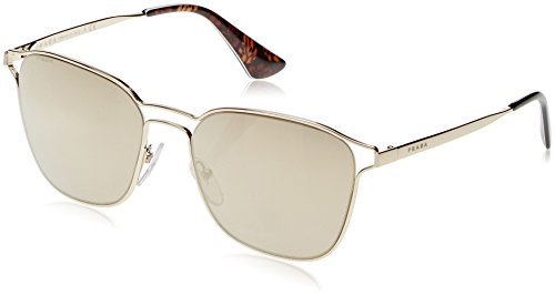 Prada Women's Double Bridge Mirrored Sunglasses, Pale Gold/Light Brown, One Size