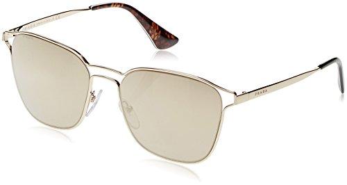 Prada Women's Double Bridge Mirrored Sunglasses, Pale Gold/Light Brown, One Size