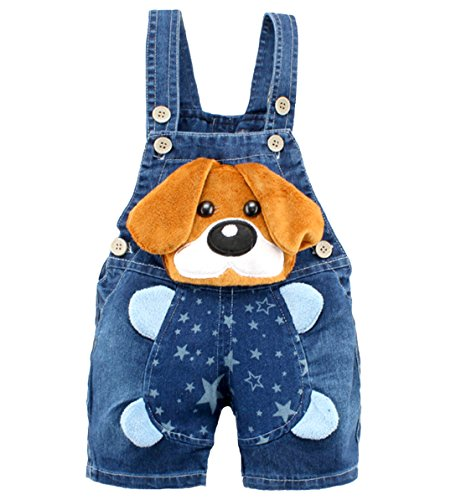 Kidscool Baby Boys/Girls Big Yellow Ears Cute Dog Summer Jeans Shortalls,18-24 Months,Blue