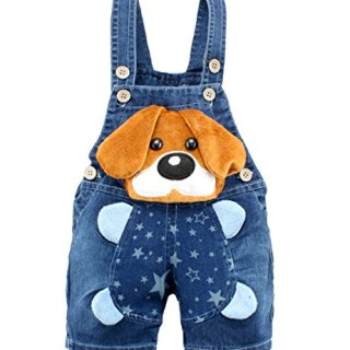 Kidscool Baby Boys/Girls Big Yellow Ears Cute Dog Summer Jeans Shortalls,18-24 Months,Blue