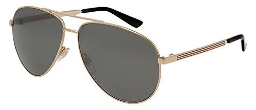 Gucci Men,Women Gold/Grey Sunglasses 61mm