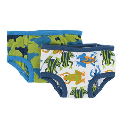 Kickee Pants Bamboo Boy/Girl Training Pants - 2 Pack (3T/4T, Amazon Frogs and Meadow Capybara)
