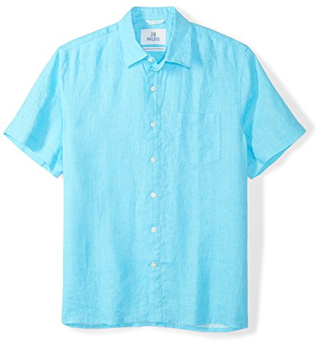 28 Palms Men's Standard-Fit Short-Sleeve 100% Linen Shirt, Blue Topaz, X-Large