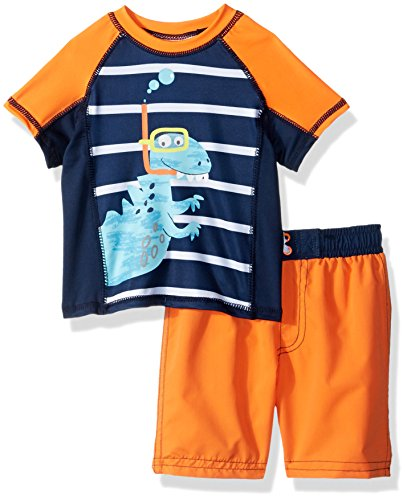 Baby Buns Baby Boys Two Piece snorkle Friends Rashguard Swimsuit Set, Multi, 24M