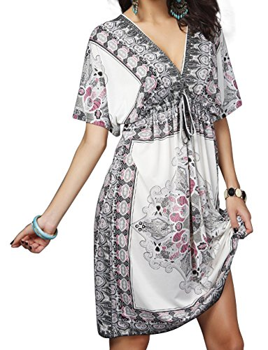 Aixy Cover up Beach Dresses for Swimwear Bikini Beach Wear Womens Girls (White ACOY007-W1)