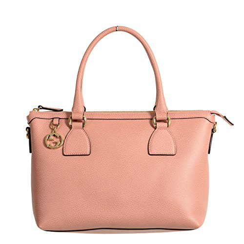 Gucci Women's Pebbled Leather Rose Pink Satchel Handbag Bag