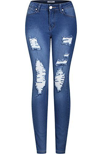 2LUV Women's Stretchy 5 Pocket Destroyed Medium Denim Skinny Jeans Blue Denim 7(BD289)