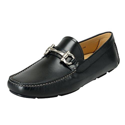 Salvatore Ferragamo Men's Parigi Black Leather Slip On Loafers Moccasins Shoes US 11.5EEE IT 10.5EEE EU 44.5EEE
