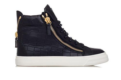 Giuseppe Zanotti Women's Shoes 'London' Crocodile Embossed Leather Sneakers-36.5 Donna Black