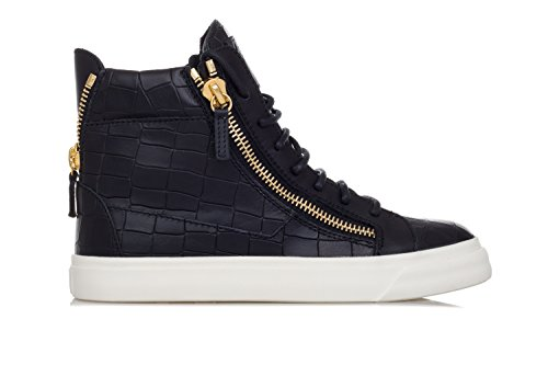 Giuseppe Zanotti Women's Shoes 'London' Crocodile Embossed Leather Sneakers-36.5 Donna Black