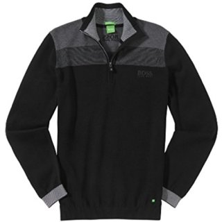 BOSS Green Men's Zelchior Pro Quarter Zip, Black, XXL