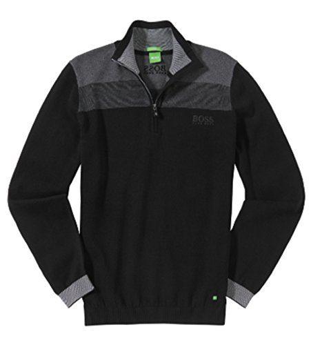 BOSS Green Men's Zelchior Pro Quarter Zip, Black, XXL