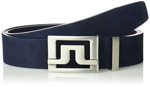 J.Lindeberg Men's Slater Brushed Leather Belt, JL Navy