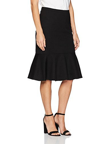 Trina Turk Women's Alina 2 Ponte Drop Flounce Skirt, Black, 12