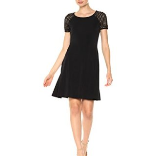 A|X Armani Exchange Women's Eyelet Shortsleeve Shirt Dress, Black, S