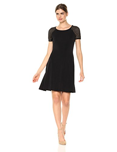 A|X Armani Exchange Women's Eyelet Shortsleeve Shirt Dress, Black, S