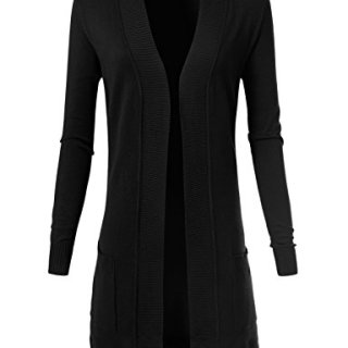 ARC Studio Women's Solid Soft Stretch Longline Long Sleeve Open Front Cardigan M Black