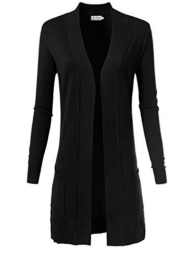 ARC Studio Women's Solid Soft Stretch Longline Long Sleeve Open Front Cardigan M Black