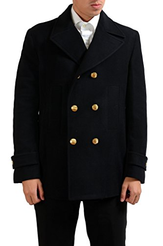 Versace Collection Men's Black Wool Double Breasted Peacoat US XS IT 46;