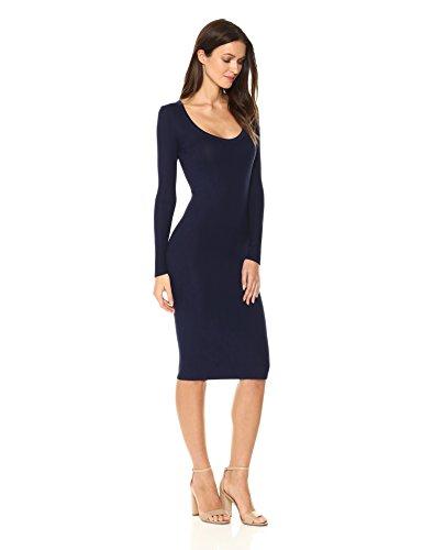 Enza Costa Women's Long Sleeve Scoop Neck Knee Length Dress, Evening, M