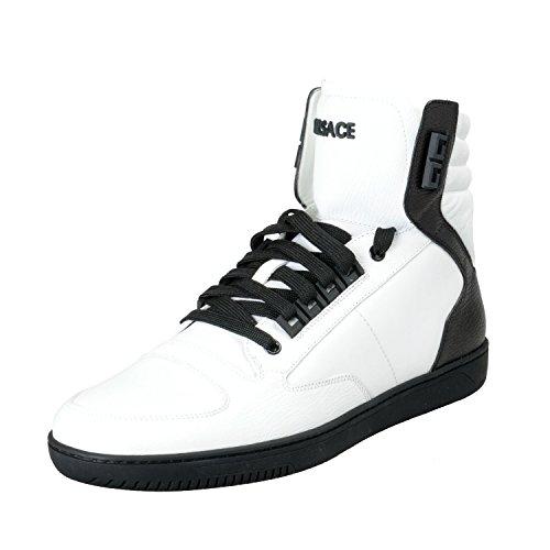 Versace Men's White Leather Hi Top Fashion Sneakers Shoes Sz US 7 IT 40