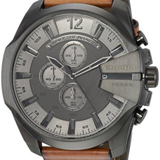 Diesel Men's 'Mega Chief' Quartz Stainless Steel and Leather Casual Watch, Color Brown
