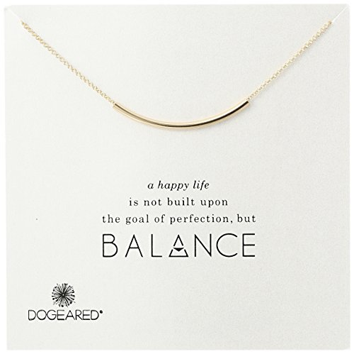 """Dogeared Balance Tube Bar Gold Plated Silver Necklace, 16"""" with 2"""" extender"""