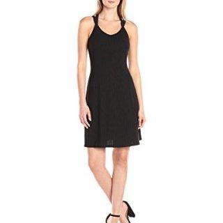 A|X Armani Exchange Women's Irregular Rib Knee Length Crossback Fit and Flare Dress, Black, Medium