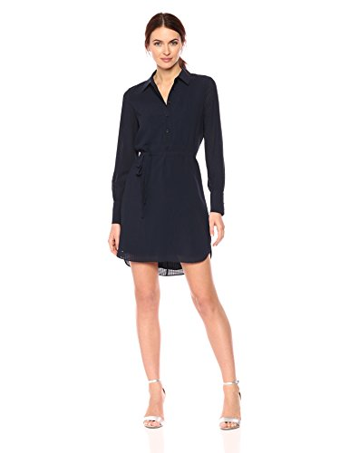 A|X Armani Exchange Women's Solid Shirt Dress with Tie, Navy, 4