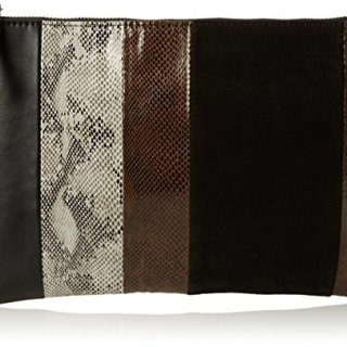 French Connection Womens 70's Patchwork Jacie Zip Pouch Cross-Body Bag Patchworksnake/Black
